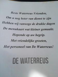 We gingen eten bij de Waterreus
