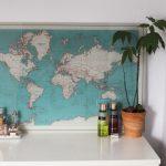 Decoreer je kamer met een prachtige wereldkaart op glas